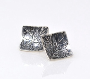 Etched Floral Stud Earrings