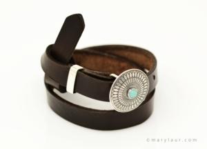 Concheau and Turquoise Wrap Bracelet - Style 250