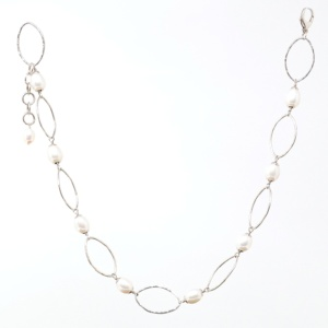 Pearl and Marquis Link 18 Inch Station Necklace