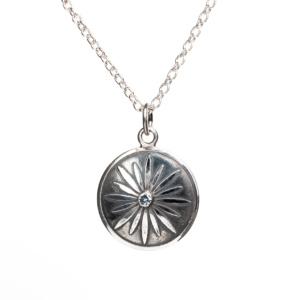 Dainty Daisy Concheau Oxidized Pendant with Montana Sapphire